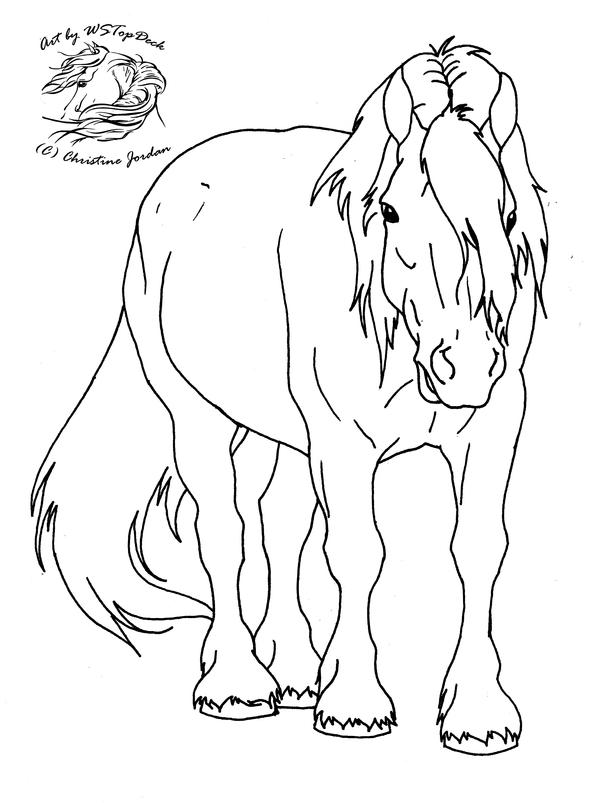 Draft Horse In Saddle Color Pages