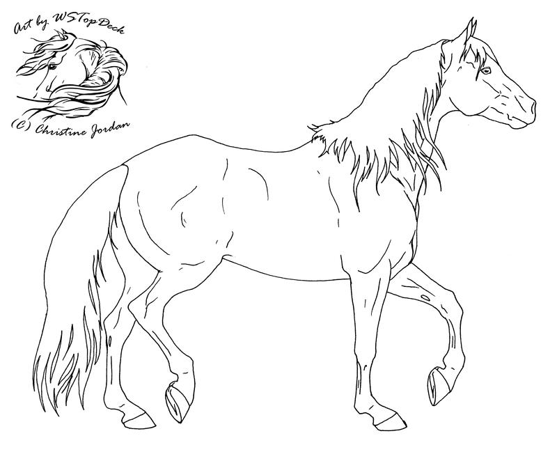 Stock horse lineart free use by wstopdeck on deviantart for Quarter horse coloring pages