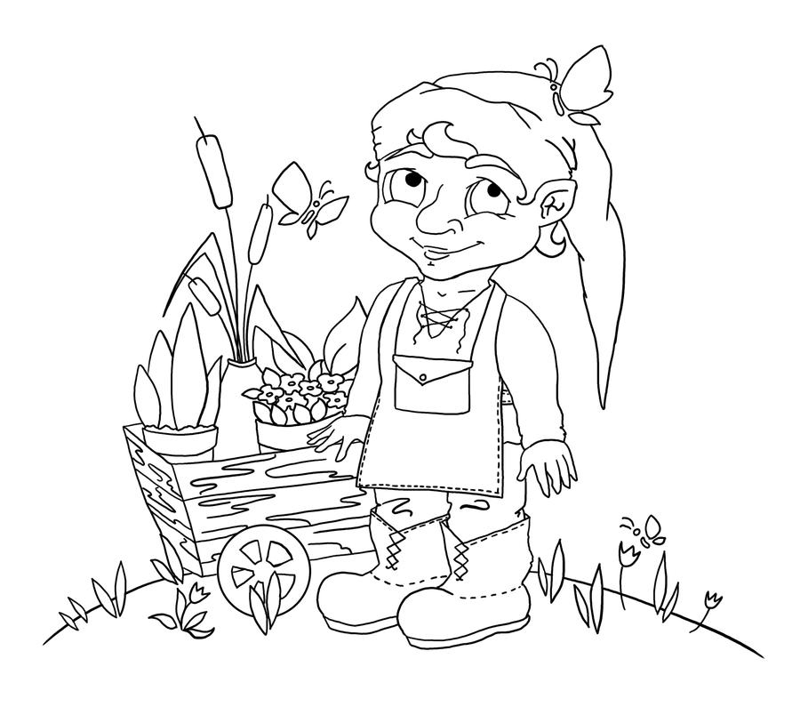 Garden gnome lineart by masha88 on deviantart for Garden gnome coloring pages