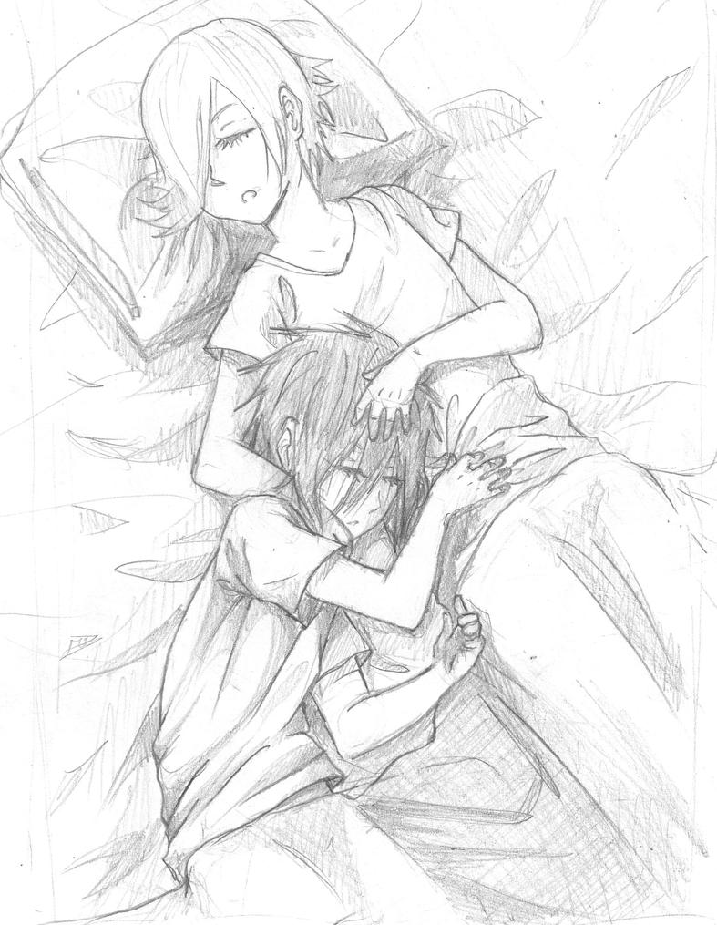Anime Couple Sleeping Drawings Sketch Coloring Page