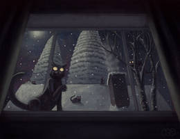 Creepy Cats By The Window by CDrice