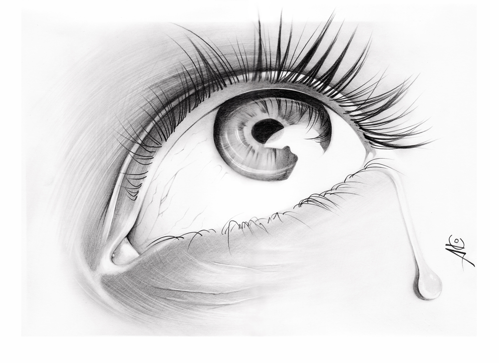 It is a photo of Canny Drawing Of Someone Crying