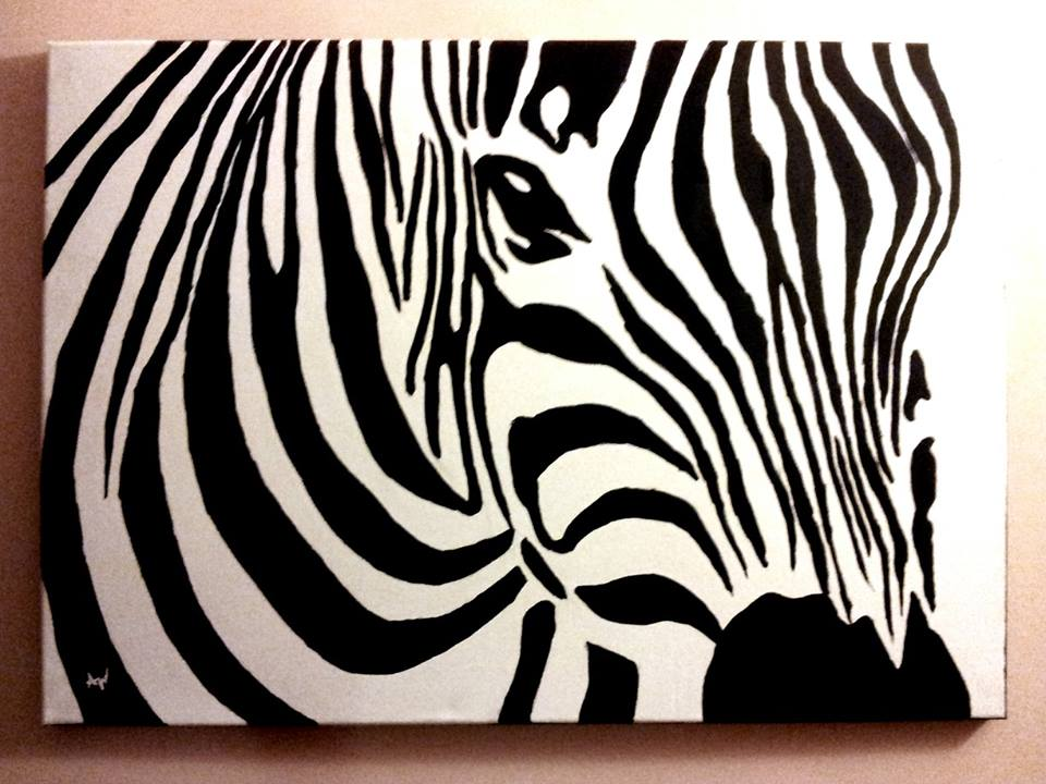 Zebra canvas acrylic painting by patrissaart