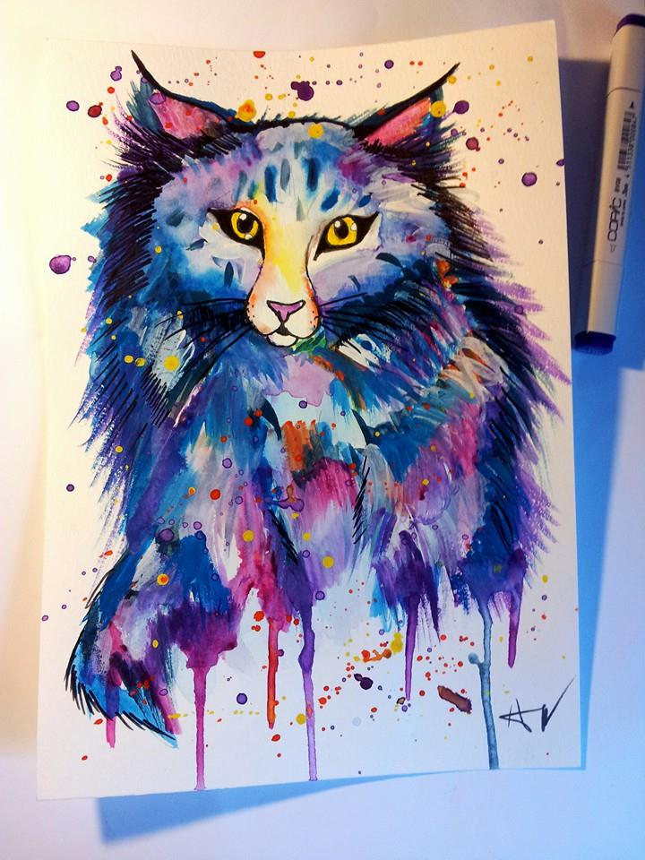 Colorful cat watercolor painting by PatrissaArt on DeviantArt