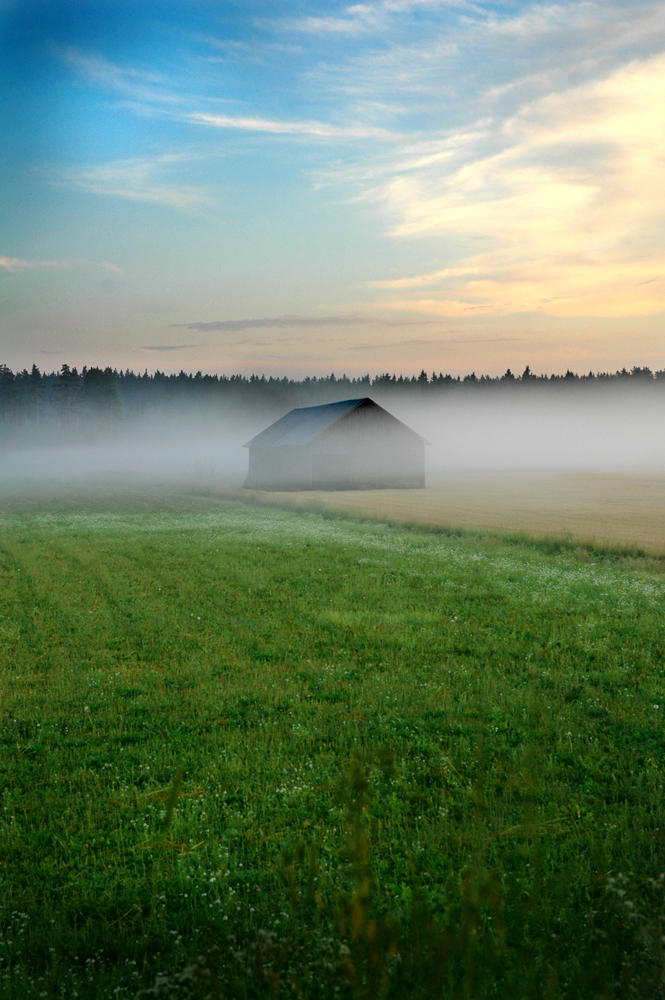 Barn in fog by Amalgamax