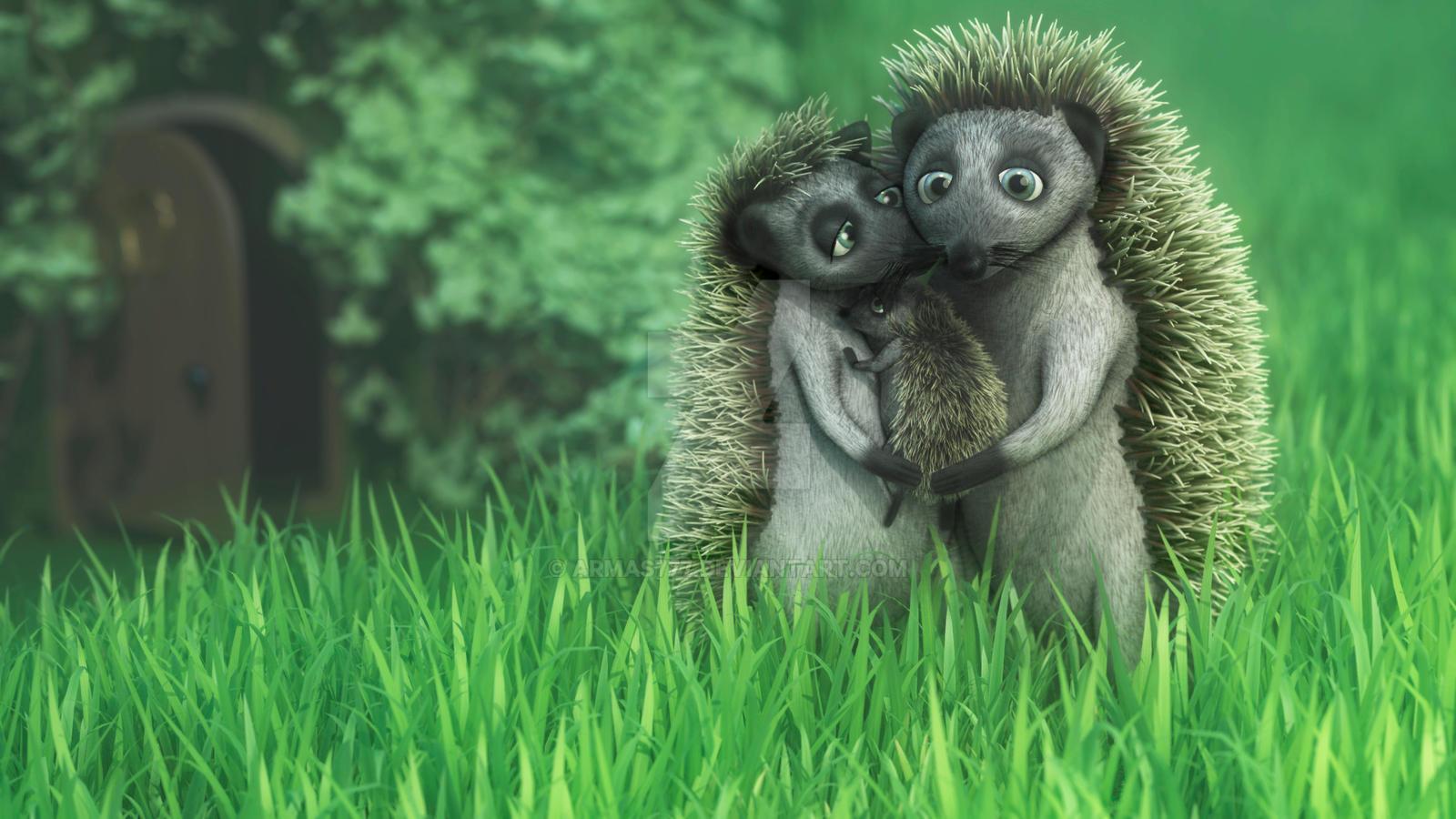 Hedgehog Family by armas777