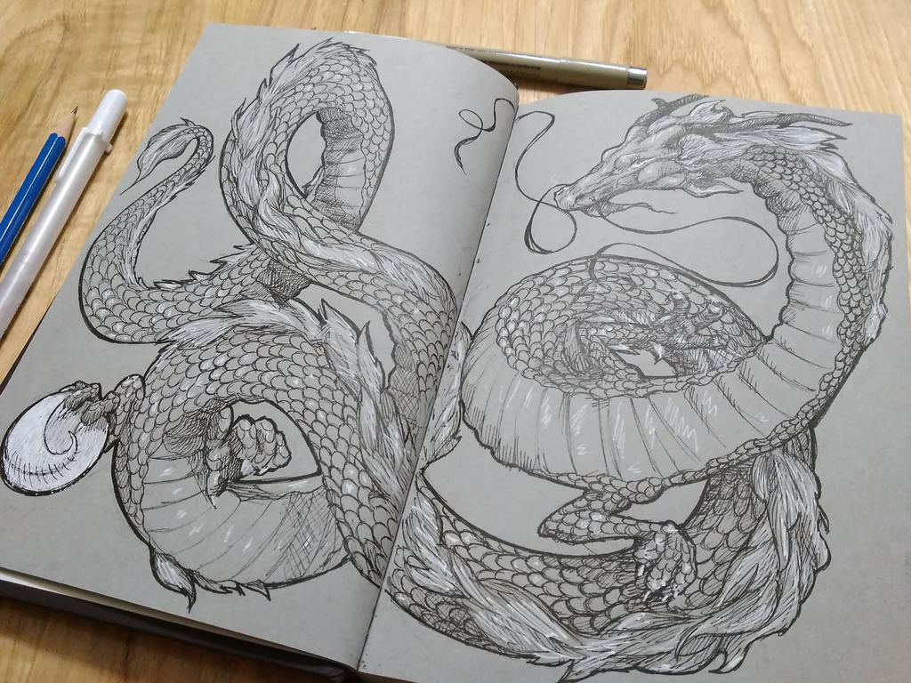 Line Art Dragon : Chinese dragon ink drawing by poplora on deviantart