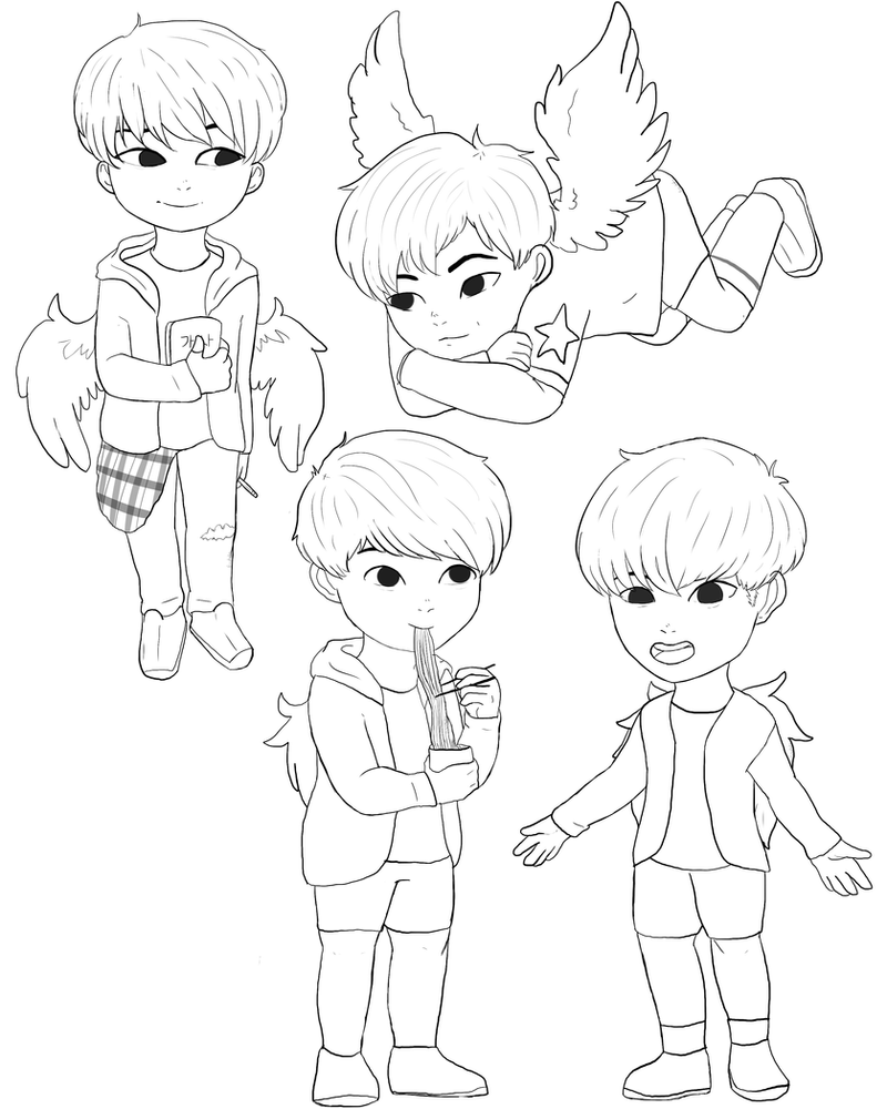 hyung line bts coloring book by chibioliver on DeviantArt