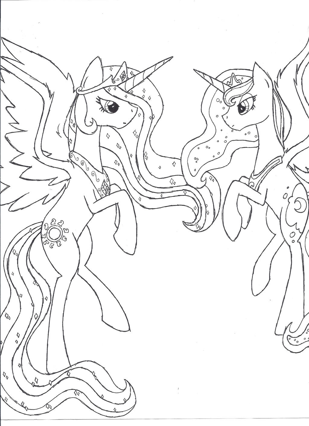Princess celestia and princess luna unfinished by iwatobi for Princess luna coloring pages