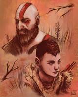 Kratos and Atreus by koreanluver1