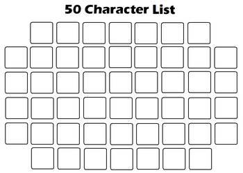 Favorite 50 Character List Template by KoopaKidDS