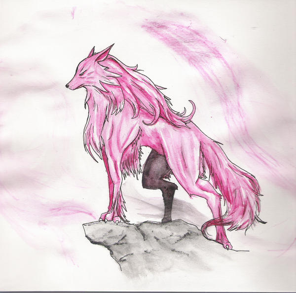 Pink Wolf Drawing