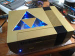 Gold Zelda NES with Triforce window and LED's