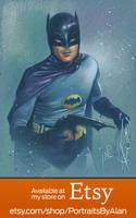 Batman '66 - Original Adam West Portrait Drawing by PortraitsByAlan