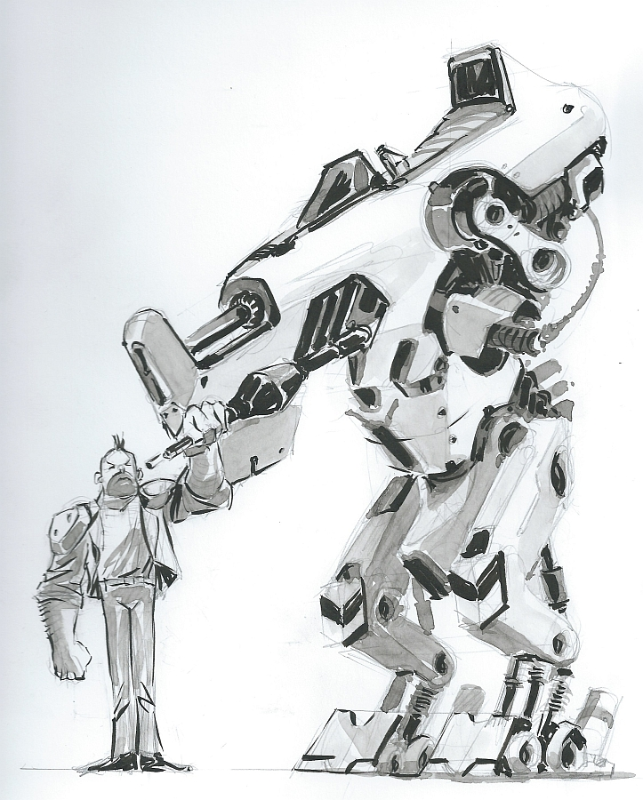 Inktober Mecha and friend by zeustoves