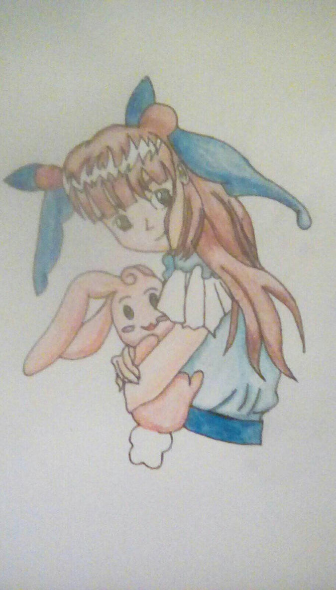 Anime me with rabbit by BlueMoonScorpio