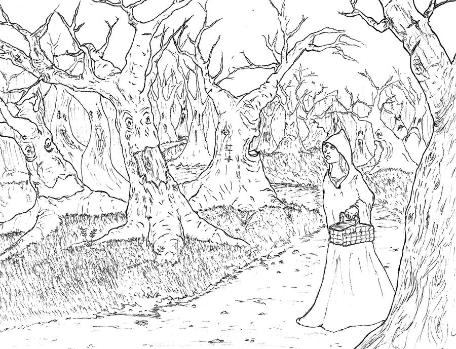 Putty Line Drawing Q : Haunted woods line drawing by b neb on deviantart