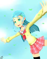 School Girl on a Windy Day