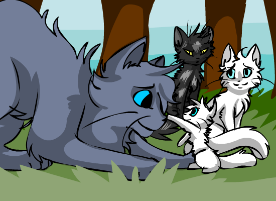 Warrior Cats Thistleclaw And Snowfur Aunt bluefur by starryevening