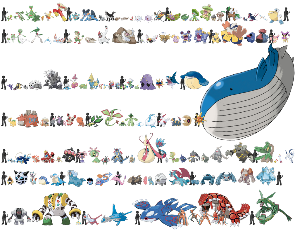 Pokemon Sizes (Hoenn) by KrocF4 on DeviantArt Wailord Size Comparison