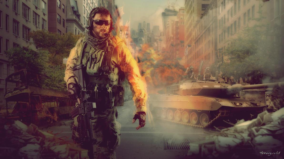 Soldier in Battle Wallpaper by tunaozcelik