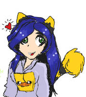 Cat girl with minecraft duck hoodie by royalshame
