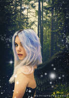 Angel walking in the forest by liviapaixao