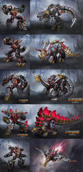 Fall of Cybertron Dinobots by DXCNRAI