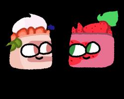 Strawberry Cake and Strawberry Cake by SmallKittyUniverse