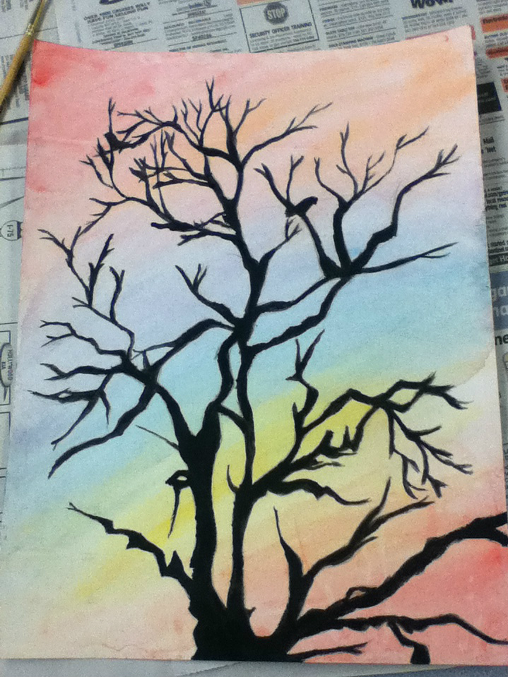 Watercolor Tree Painting By Epileptic Crayons