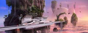 Futuristic sky steam train