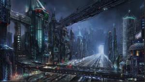Sci-fi night city