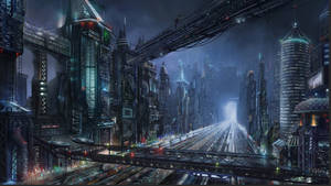 Sci-fi night city by Lac-Tic
