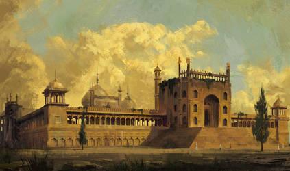 Jama Masjid Study in Hubert Robert technique