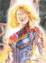 manual/traditional colour Captain Marvel by yanpepe