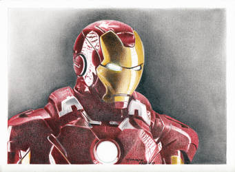 manual/traditional colour Iron Man by yanpepe