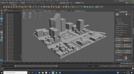 3D City Downtown Area