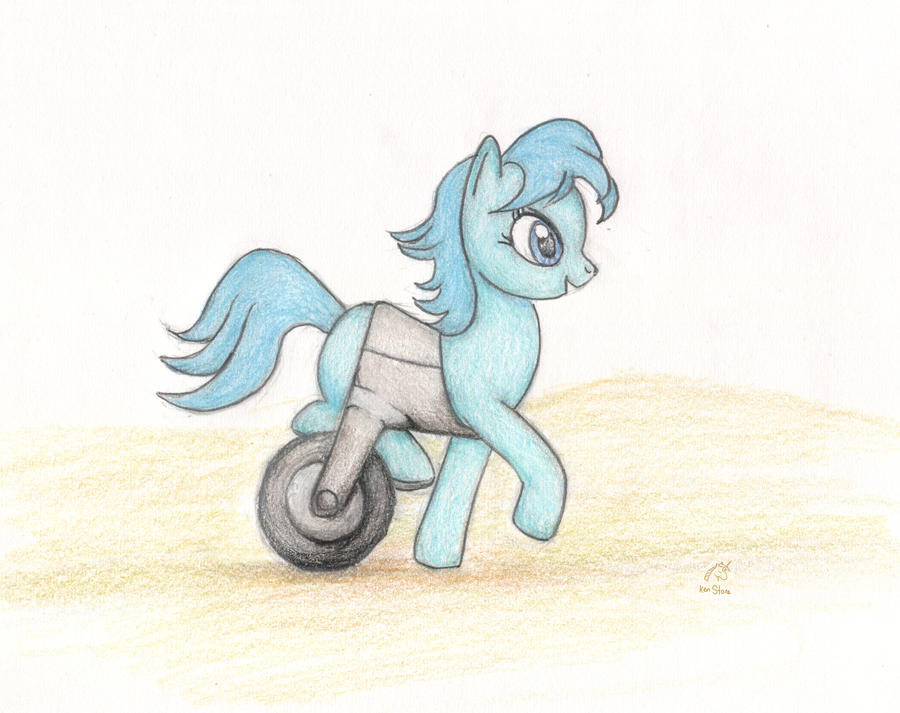 Fallout Equestria. Pony wheelchair by otherunicorn