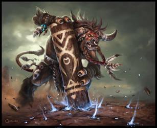 Tauren Warrior by AlexanderExorcist