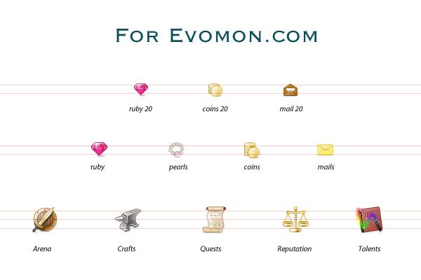 game icons for evomon.com by jordanfc