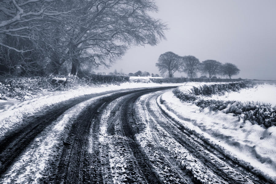 Snowy road by BELFASTBAP