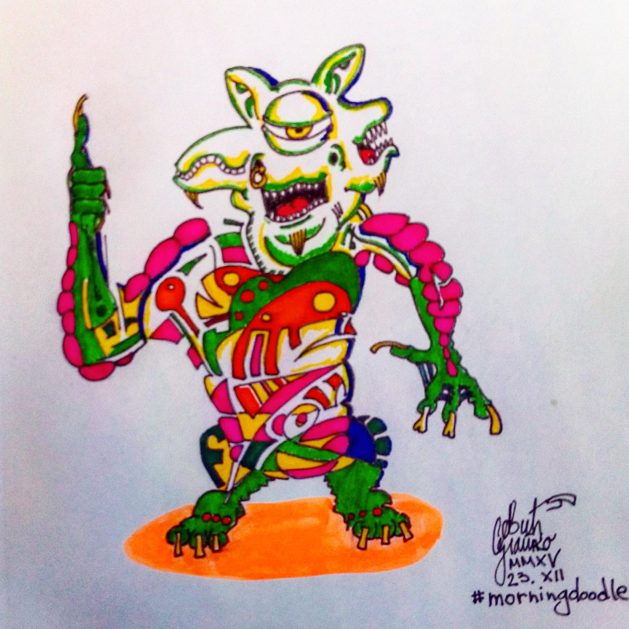 Morning doodle - 23. XII '15. - Fuuny Alien by zlajonja
