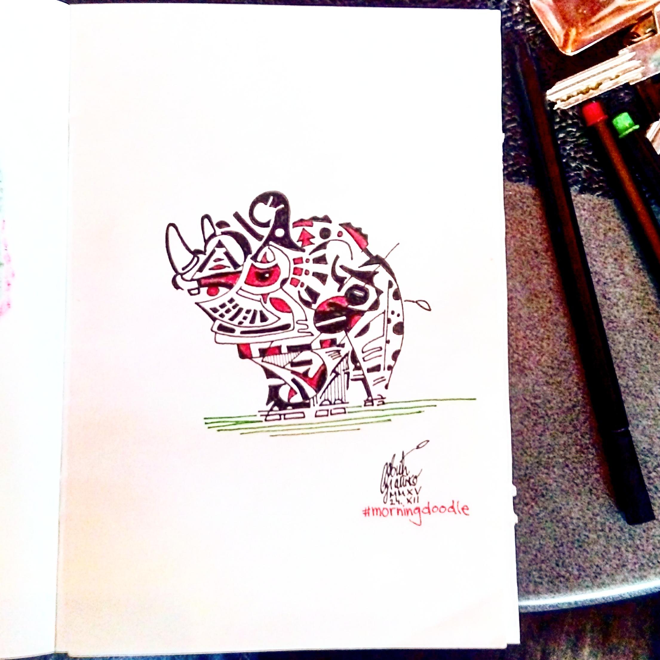 Morning doodle - 24. XII '15. - Rhyno by zlajonja