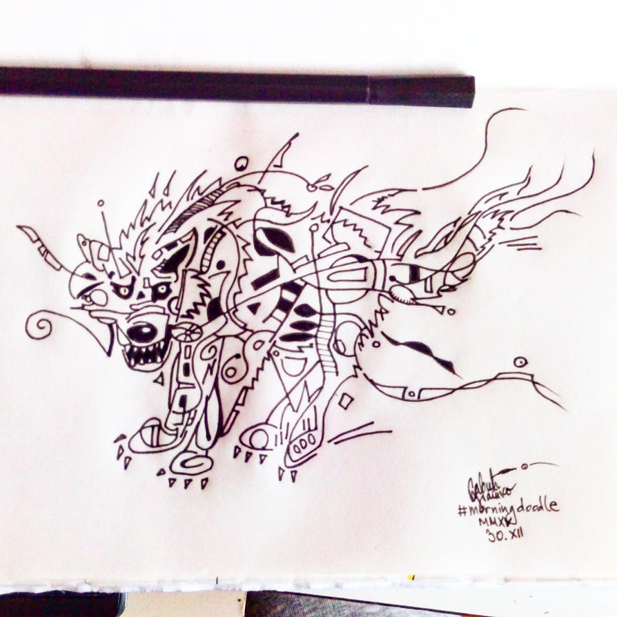 Morning doodle - 30. XII '15. - Wolf Spirit by zlajonja