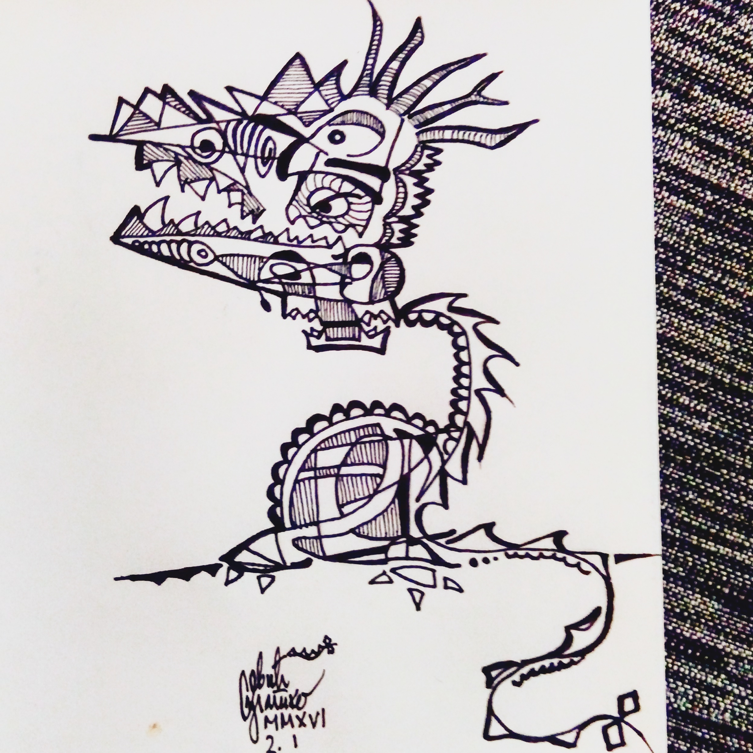 Morning doodle - 2. I '16. - Four headed dragon by zlajonja