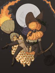 Inktober 22 - Pumpkin Witch by Vossen-Art