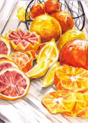 Citrus Fruits (Watercolor) by greenpigsfly