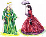 Medieval and Victorian Ladies (Watercolor) by greenpigsfly