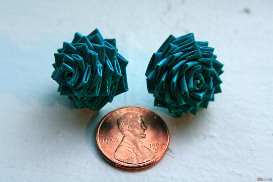 teal duct tape stud earrings by lyssalove