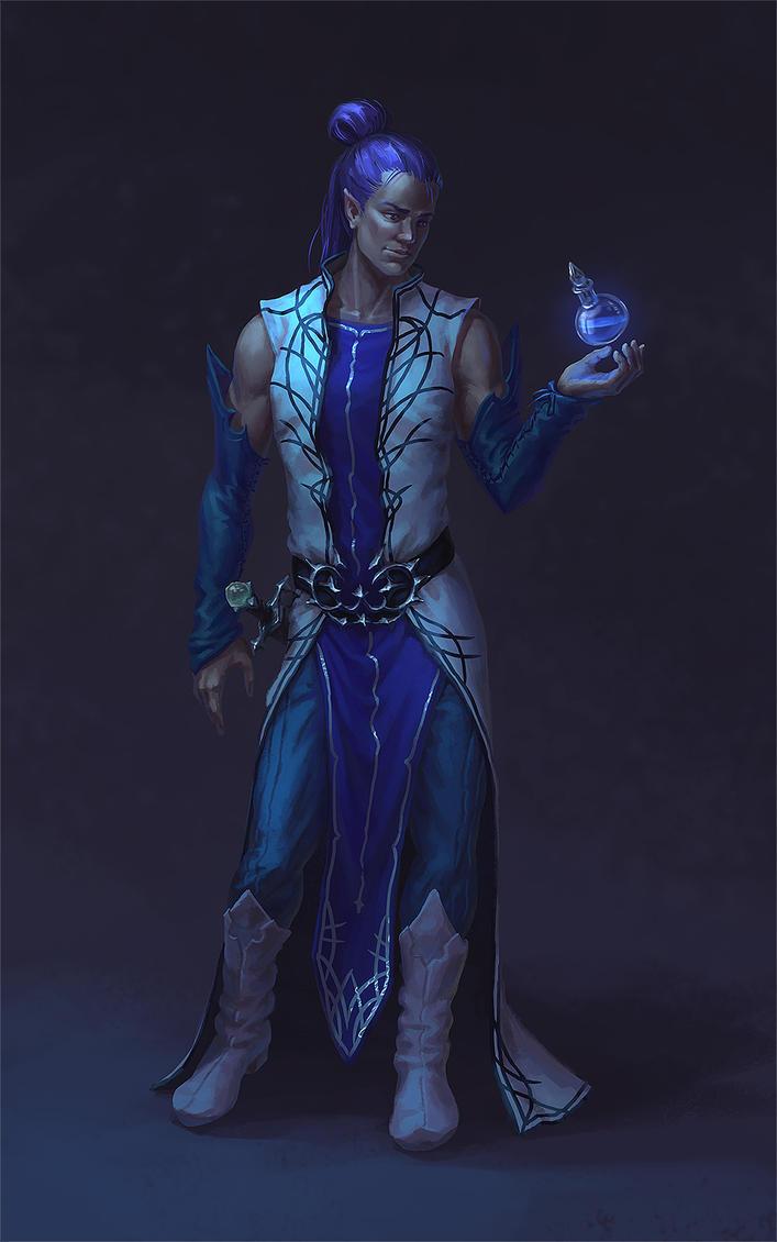 Elf and blue liquid by AnekaShu